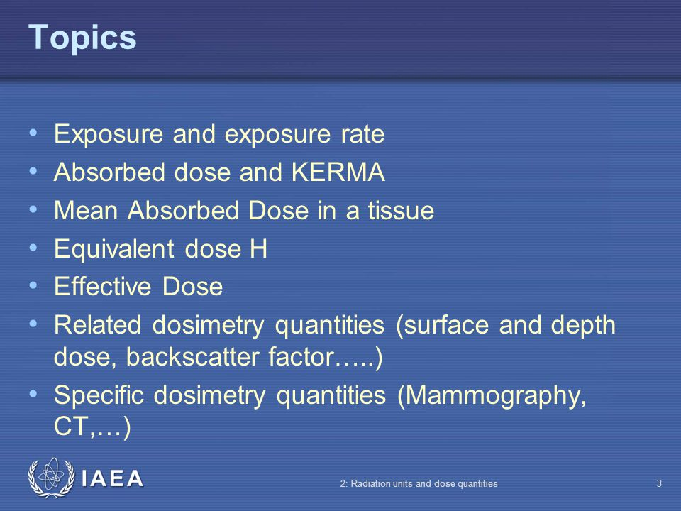 Topics Exposure and exposure rate Absorbed dose and KERMA