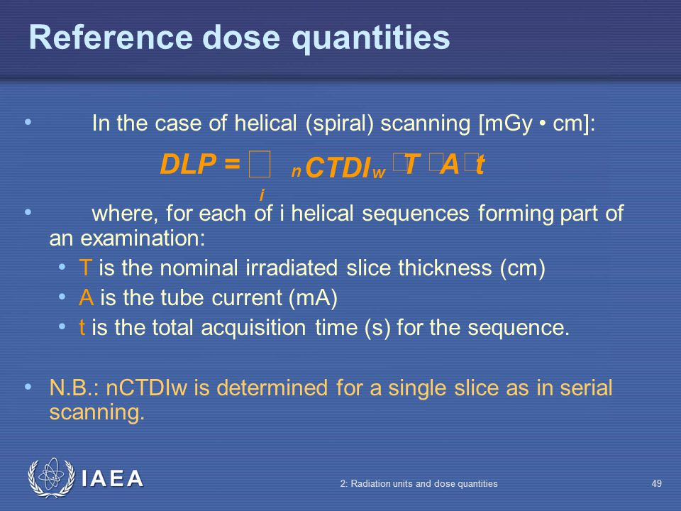 Reference dose quantities