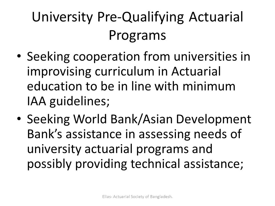 University Pre-Qualifying Actuarial Programs