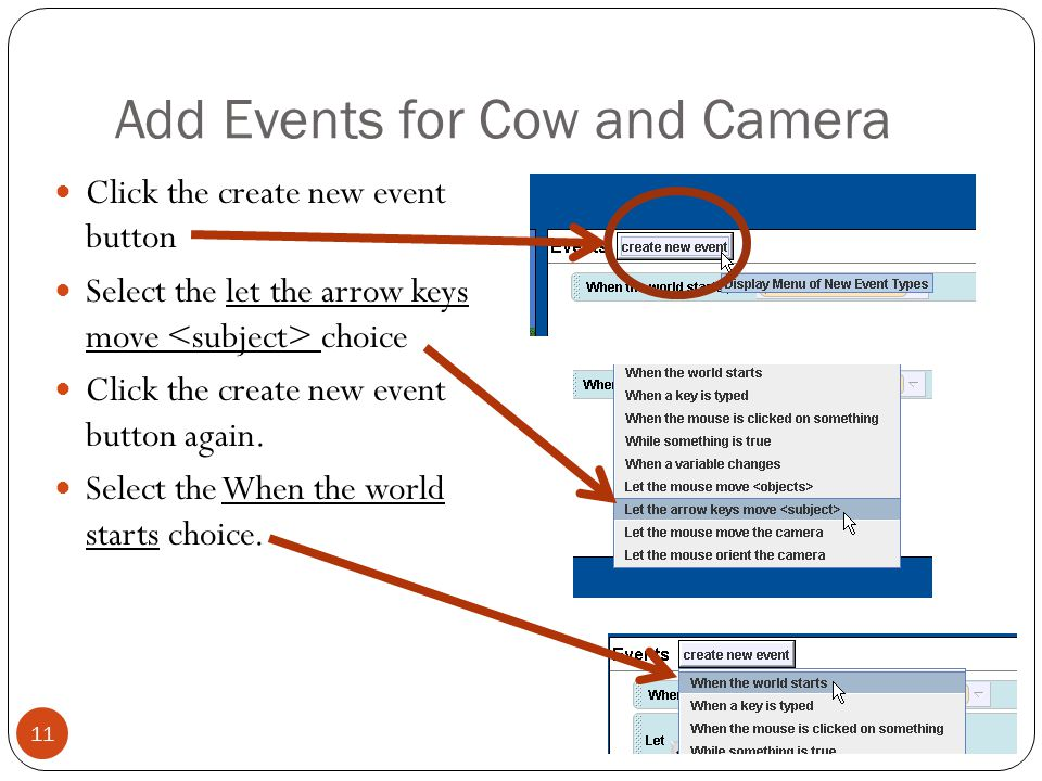Add Events for Cow and Camera