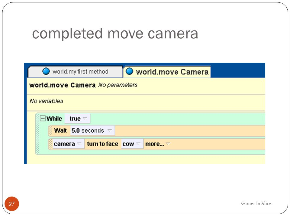 completed move camera Games In Alice