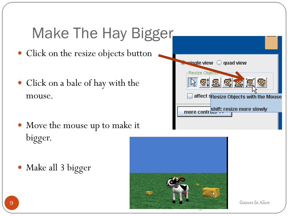 Make The Hay Bigger Click on the resize objects button