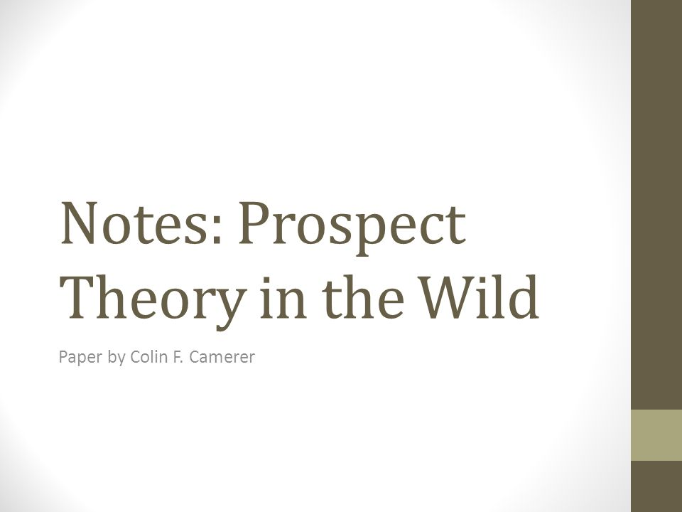 Notes: Prospect Theory in the Wild