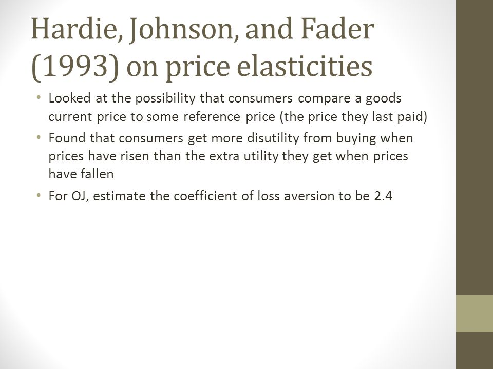 Hardie, Johnson, and Fader (1993) on price elasticities