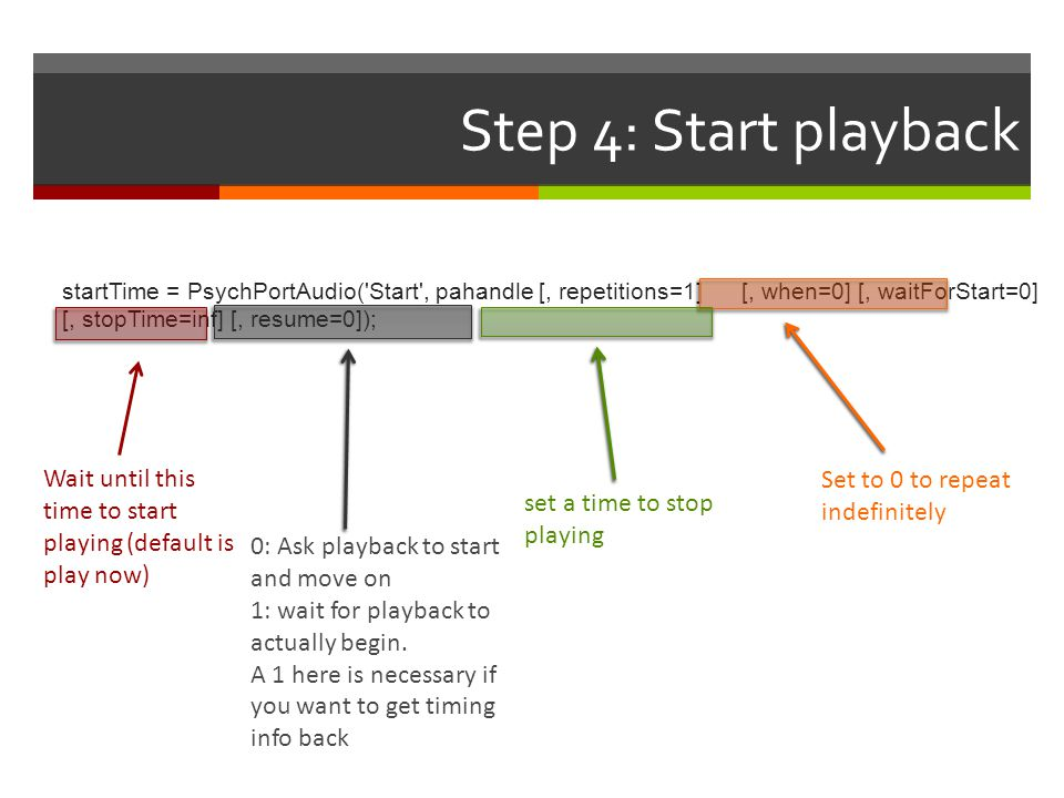 Step 4: Start playback