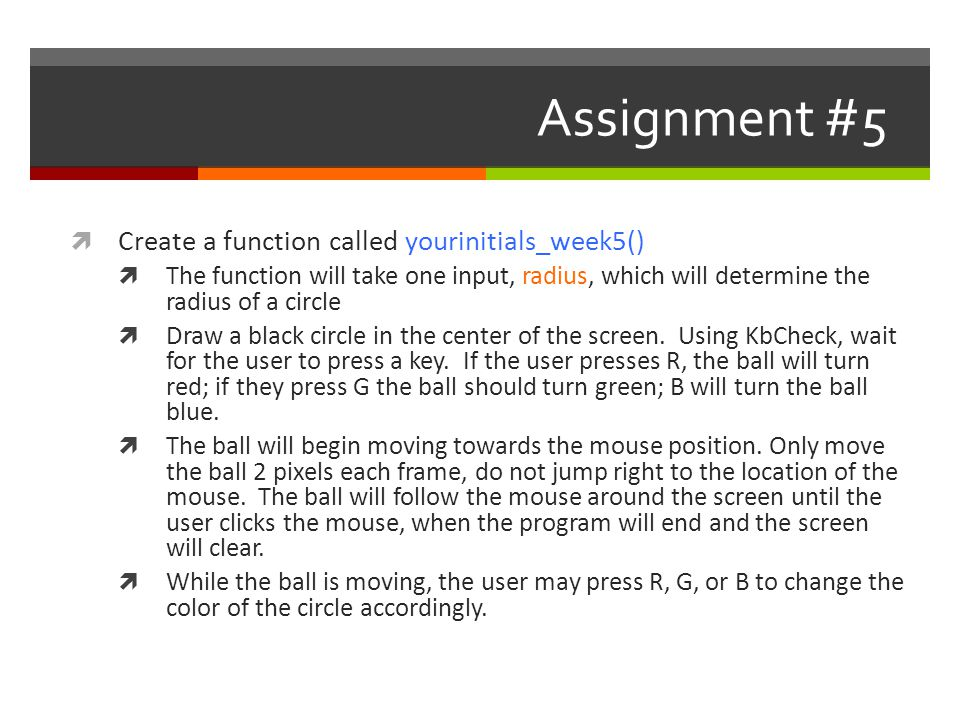 Assignment #5 Create a function called yourinitials_week5()