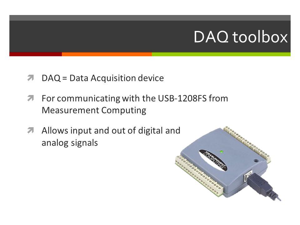DAQ toolbox DAQ = Data Acquisition device