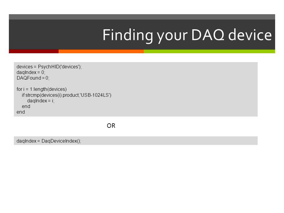 Finding your DAQ device