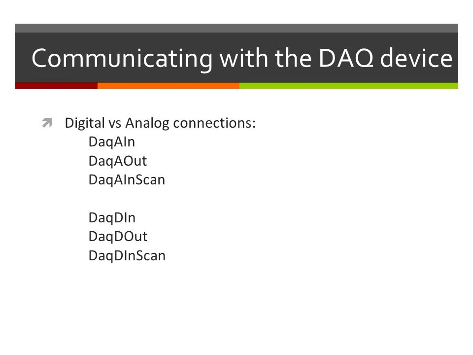 Communicating with the DAQ device