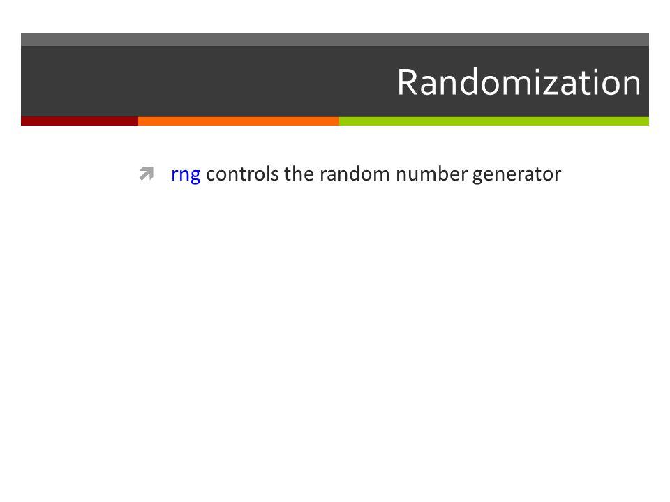 Randomization rng controls the random number generator