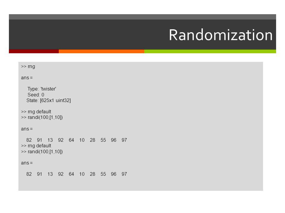 Randomization >> rng ans = Type: twister Seed: 0