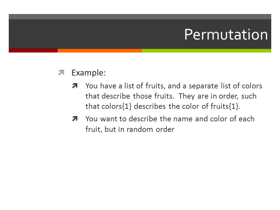 Permutation Example: