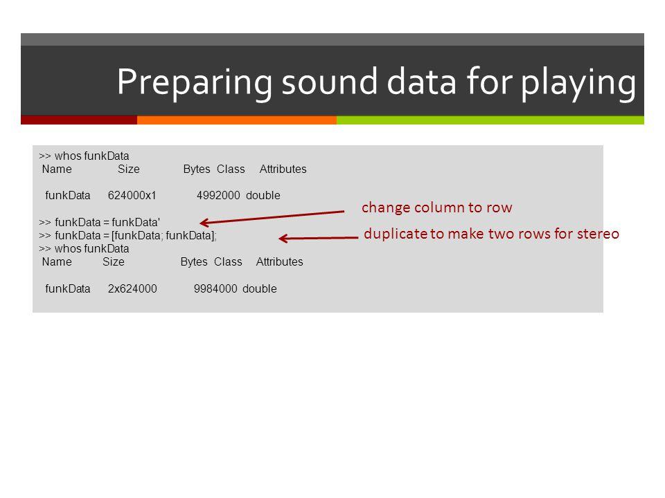 Preparing sound data for playing