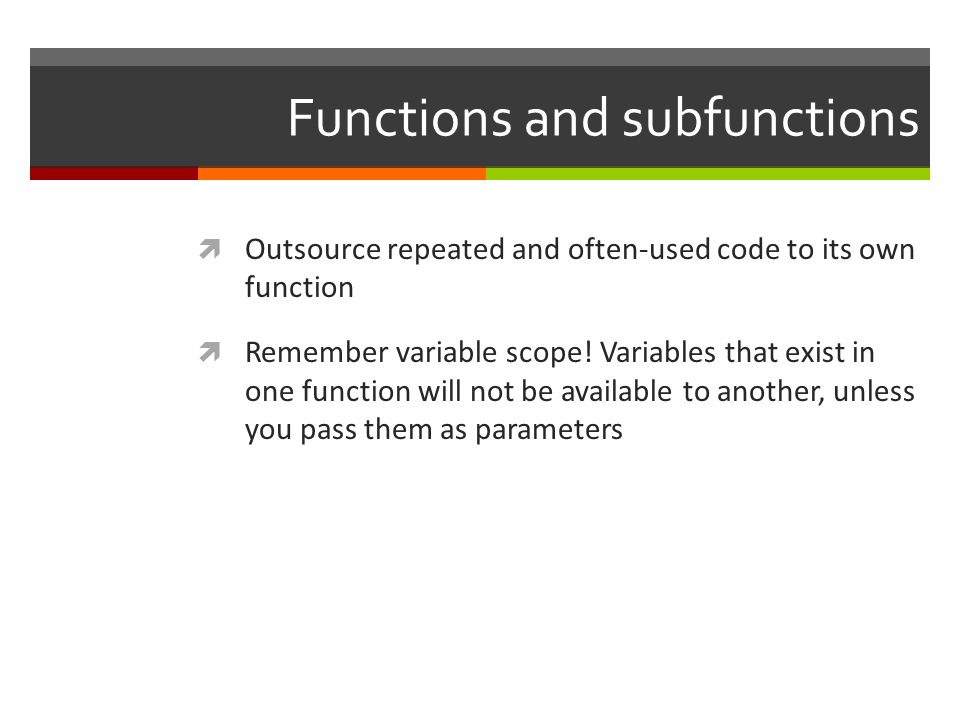 Functions and subfunctions