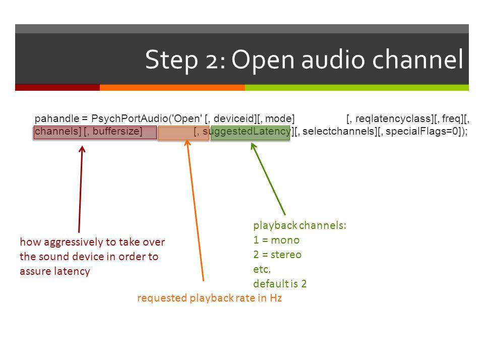 Step 2: Open audio channel