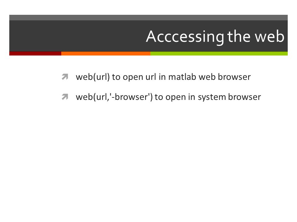 Acccessing the web web(url) to open url in matlab web browser