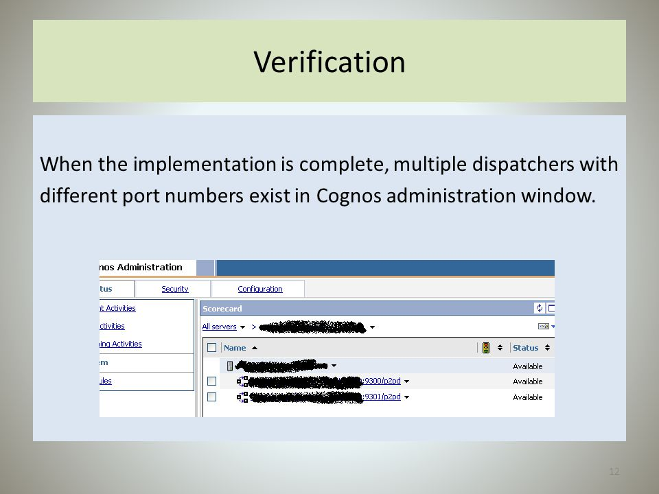 Verification When the implementation is complete, multiple dispatchers with.