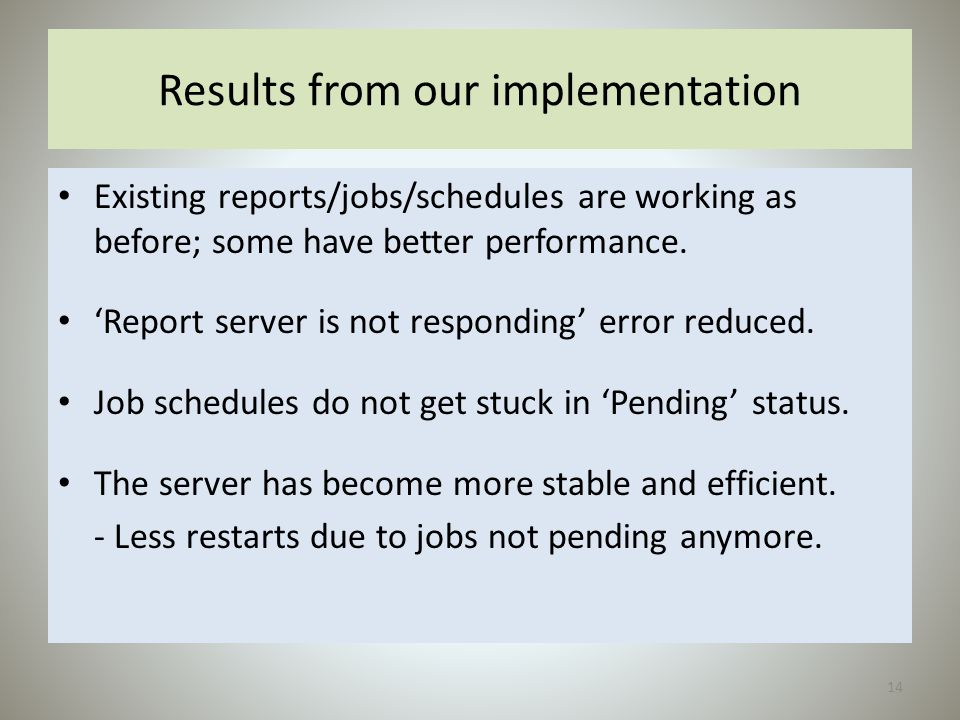 Results from our implementation