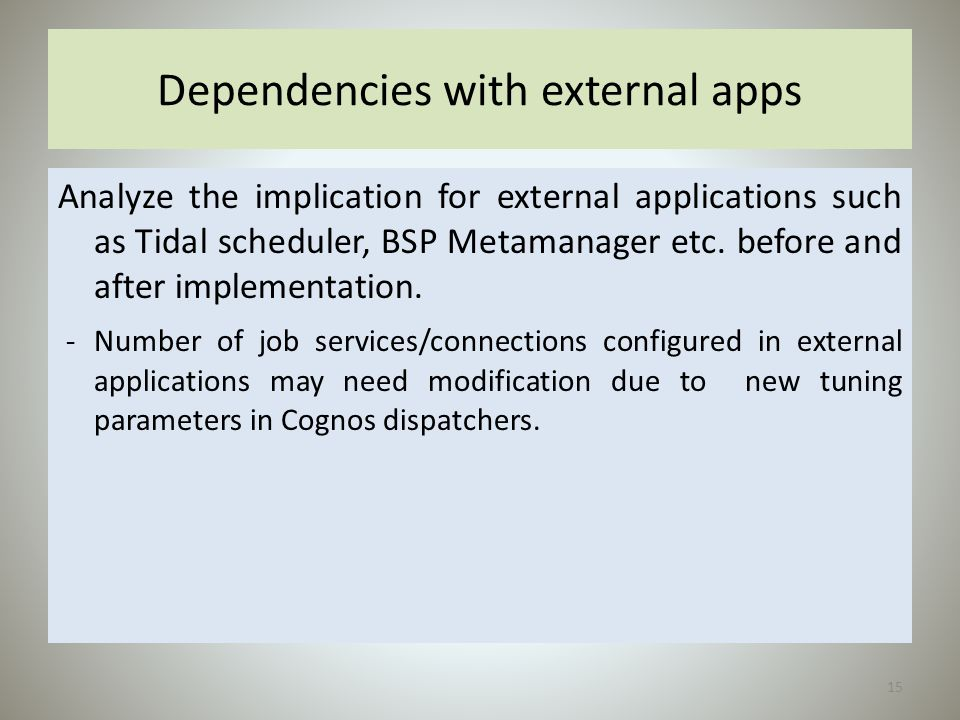 Dependencies with external apps