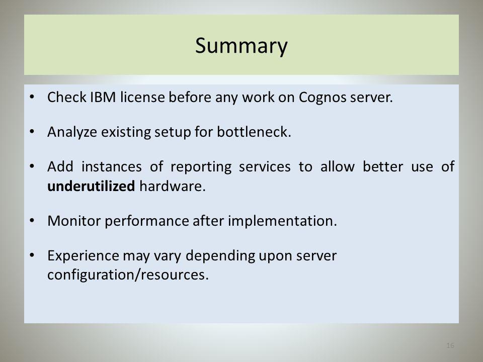 Summary Check IBM license before any work on Cognos server.