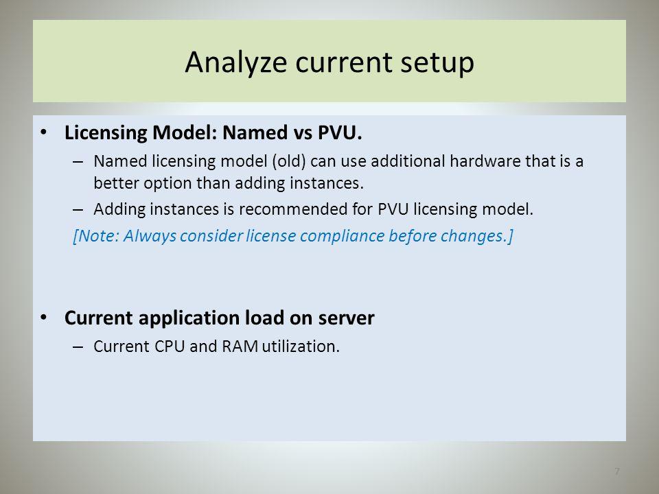 Analyze current setup Licensing Model: Named vs PVU.
