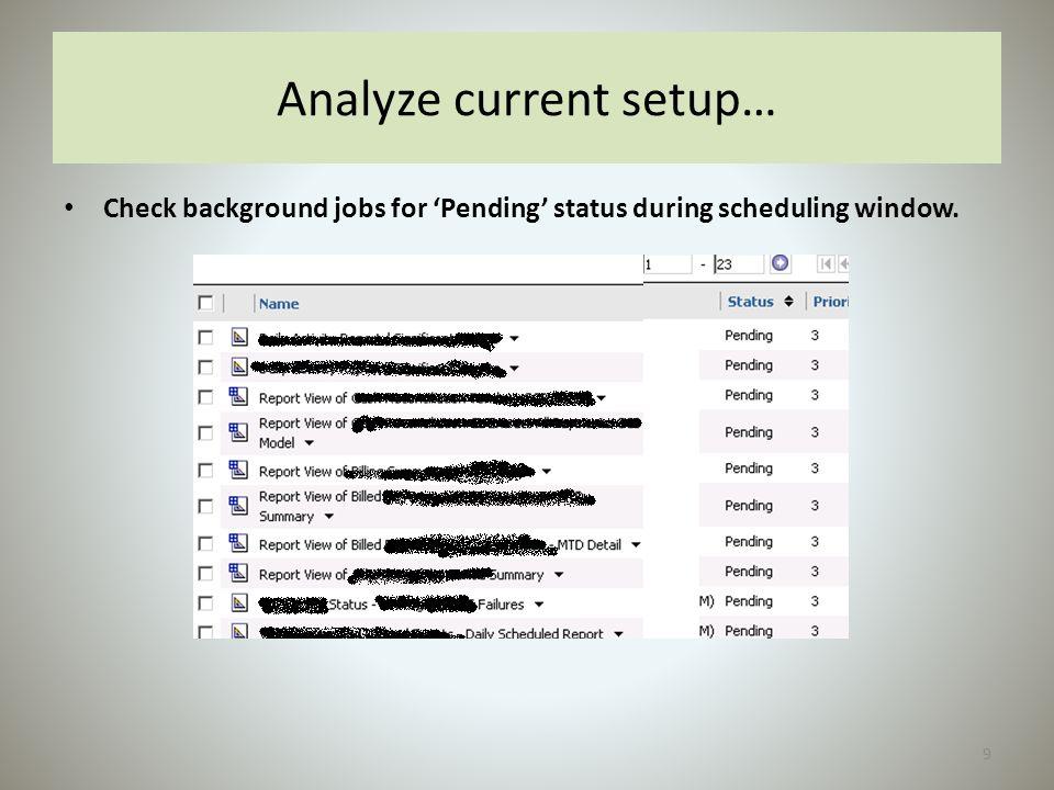 Analyze current setup…