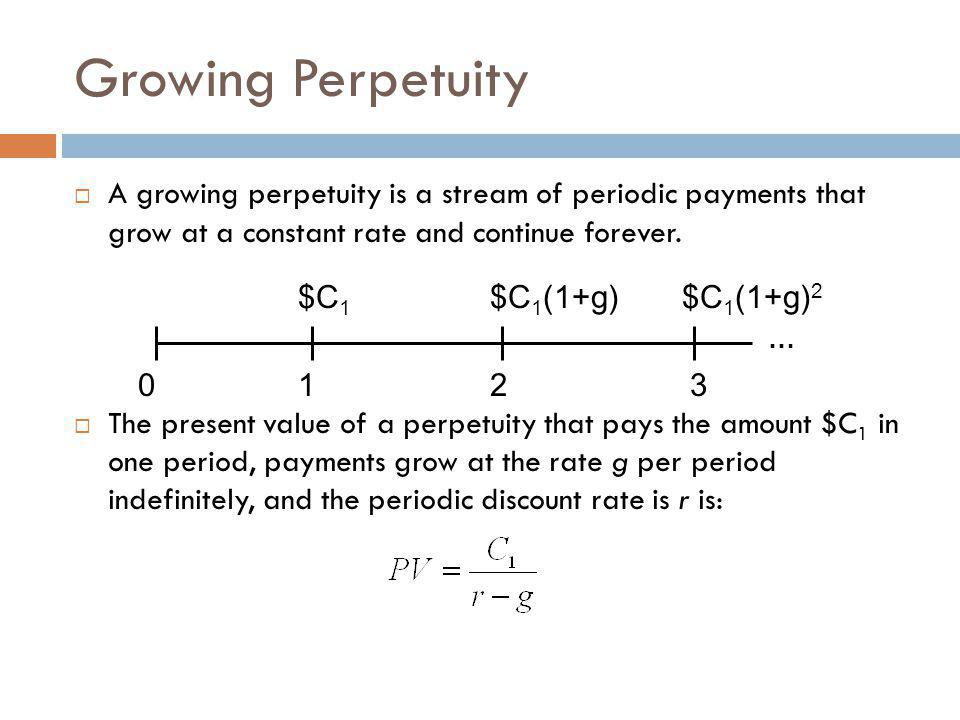Growing Perpetuity A growing perpetuity is a stream of periodic payments that grow at a constant rate and continue forever.