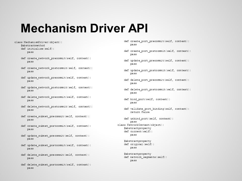 Mechanism Driver API Methods for each core resource