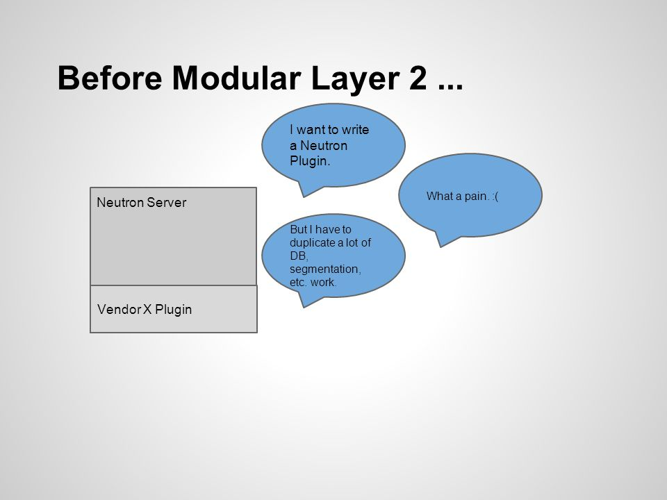 Before Modular Layer 2 ... I want to write a Neutron Plugin.