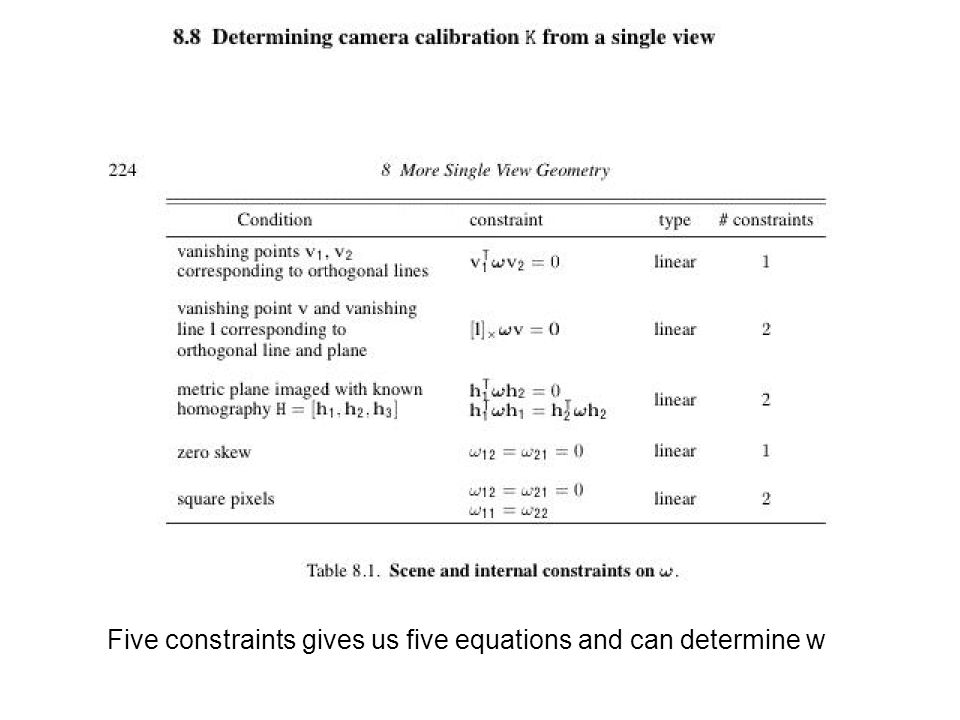 Five constraints gives us five equations and can determine w