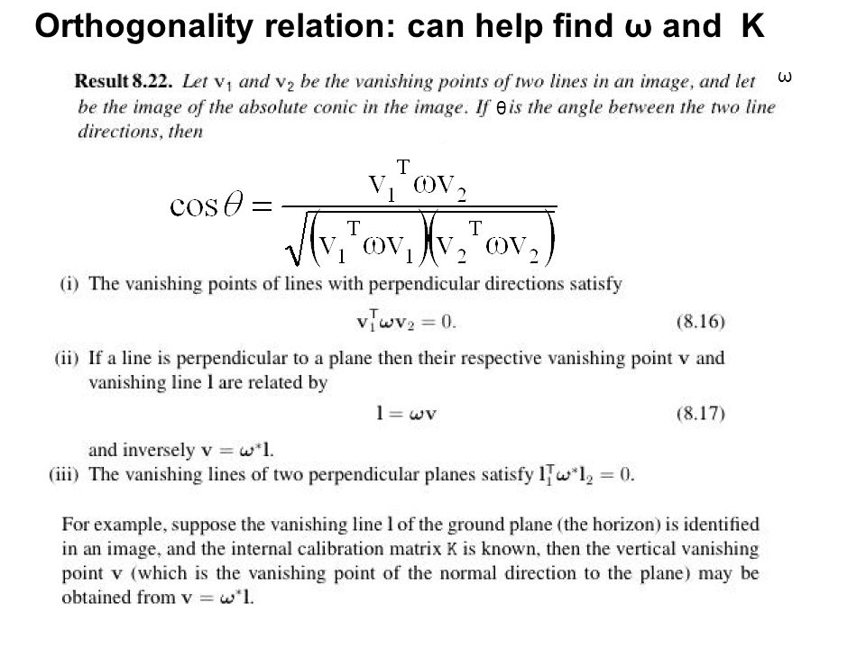 Orthogonality relation: can help find ω and K