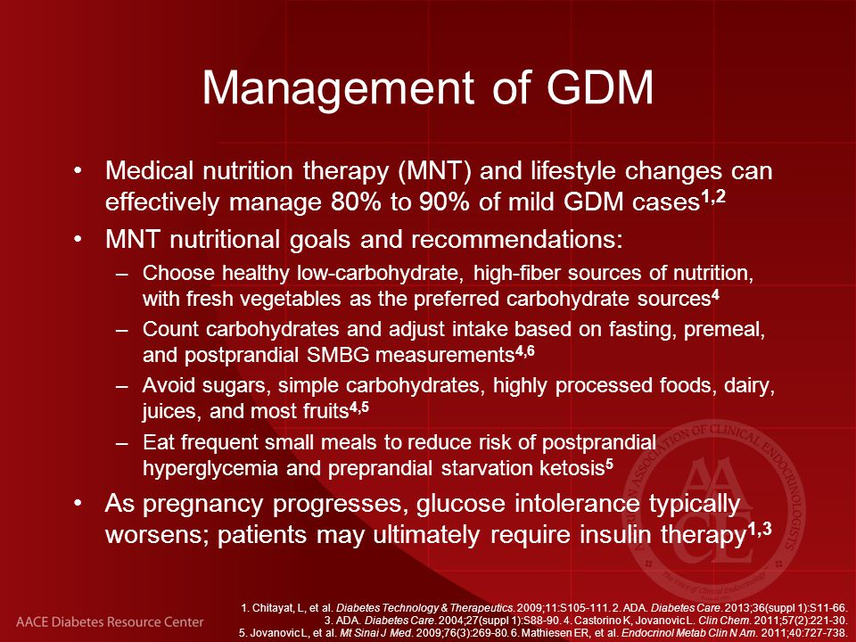 Management of GDM Medical nutrition therapy (MNT) and lifestyle changes can effectively manage 80% to 90% of mild GDM cases1,2.