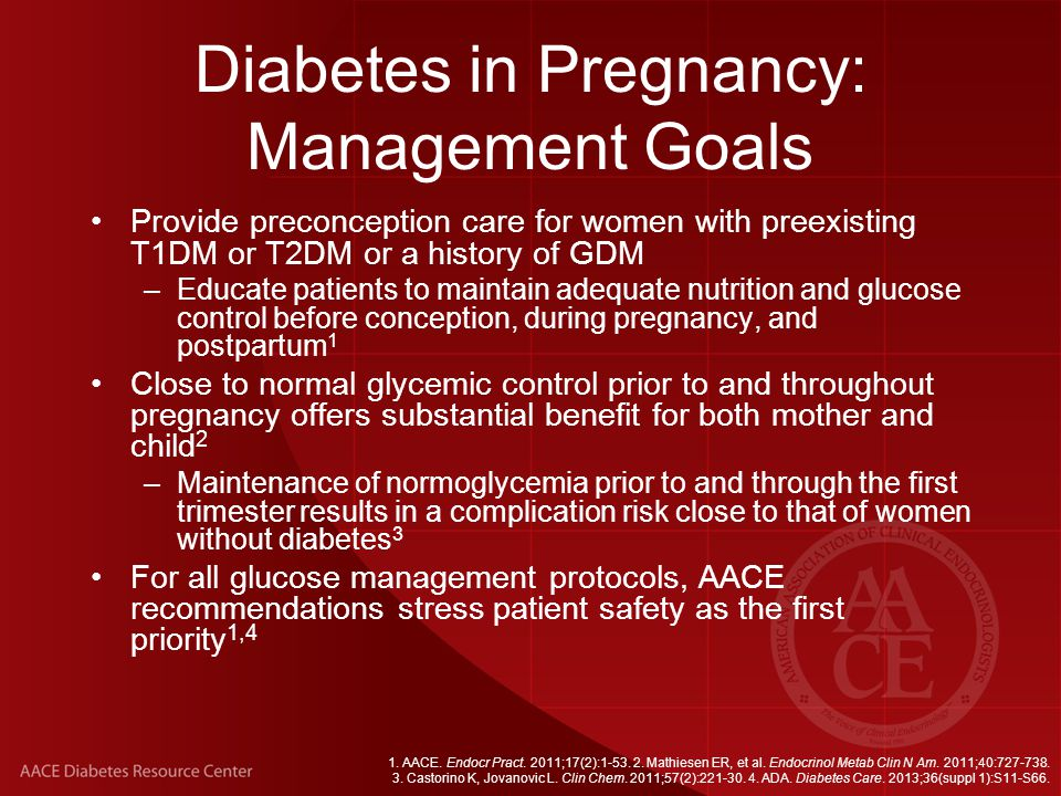 Diabetes in Pregnancy: Management Goals