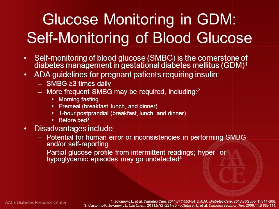 Glucose Monitoring in GDM: Self-Monitoring of Blood Glucose