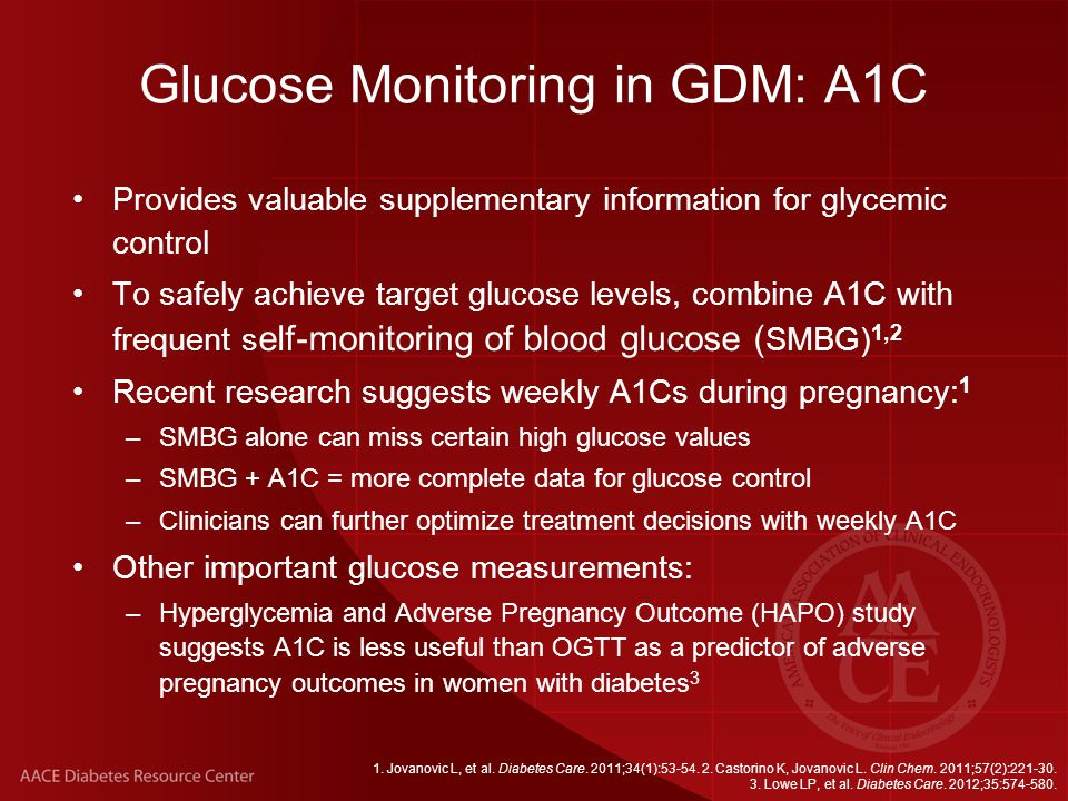 Glucose Monitoring in GDM: A1C