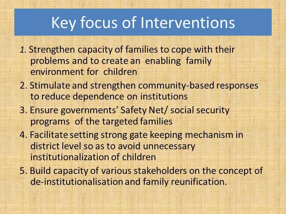 Key focus of Interventions