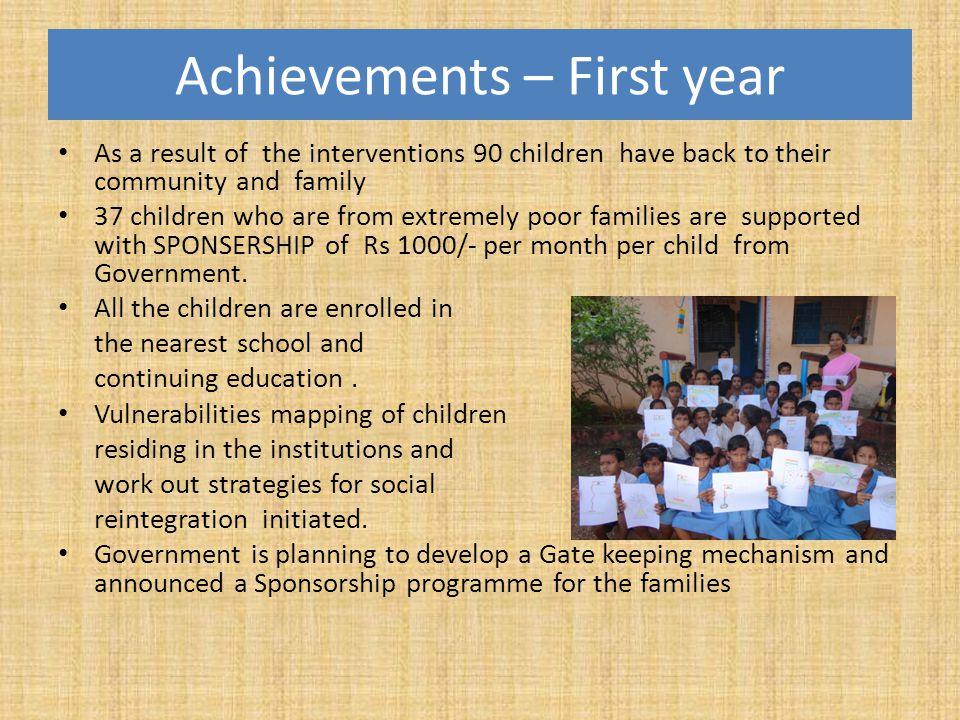 Achievements – First year