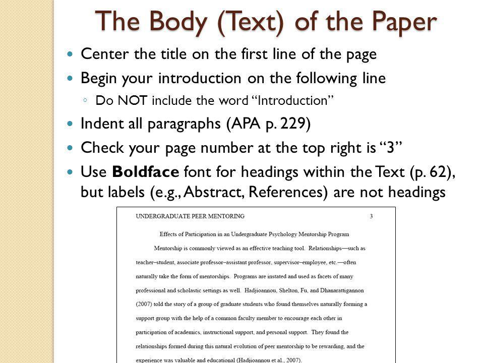 The Body (Text) of the Paper