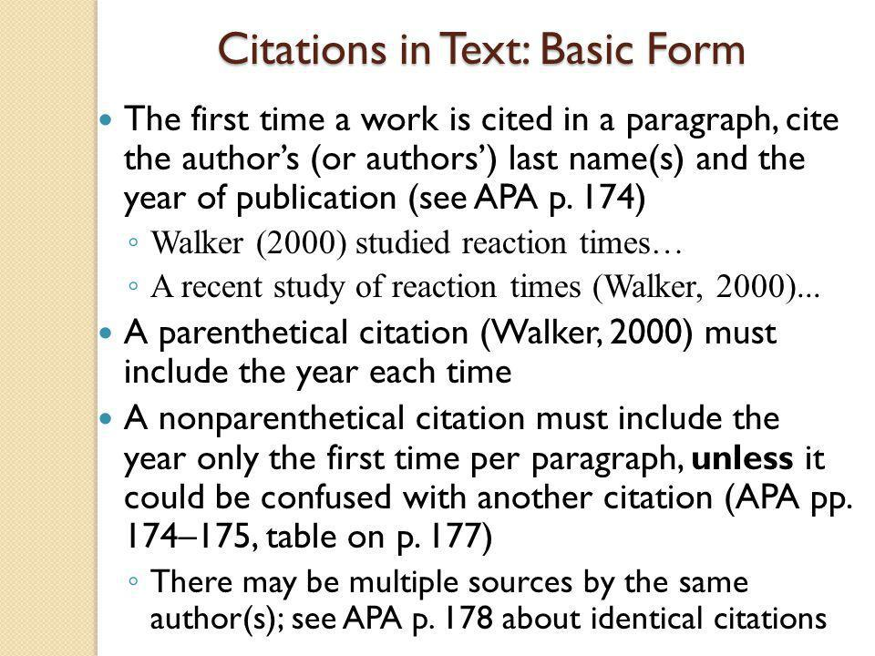 Citations in Text: Basic Form