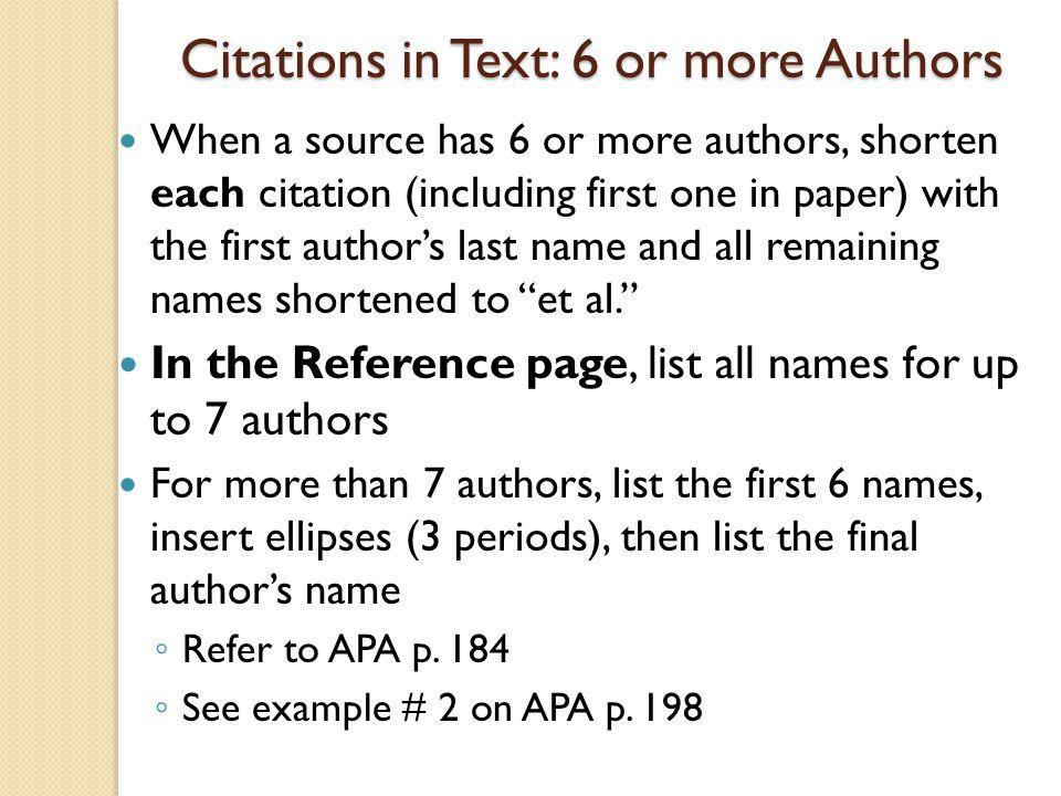 Citations in Text: 6 or more Authors