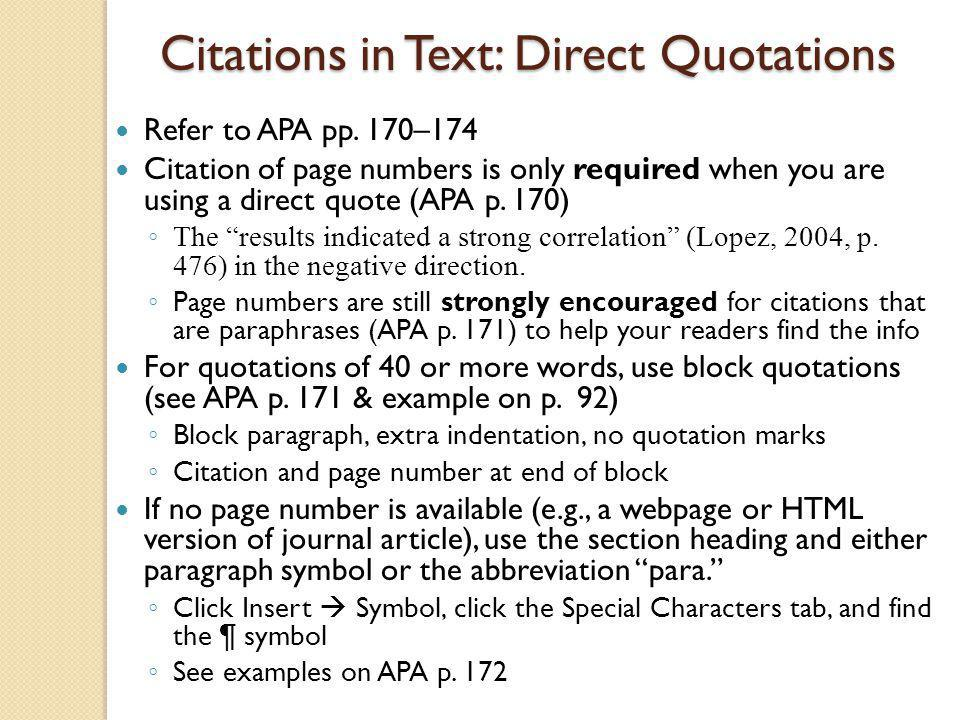 Citations in Text: Direct Quotations