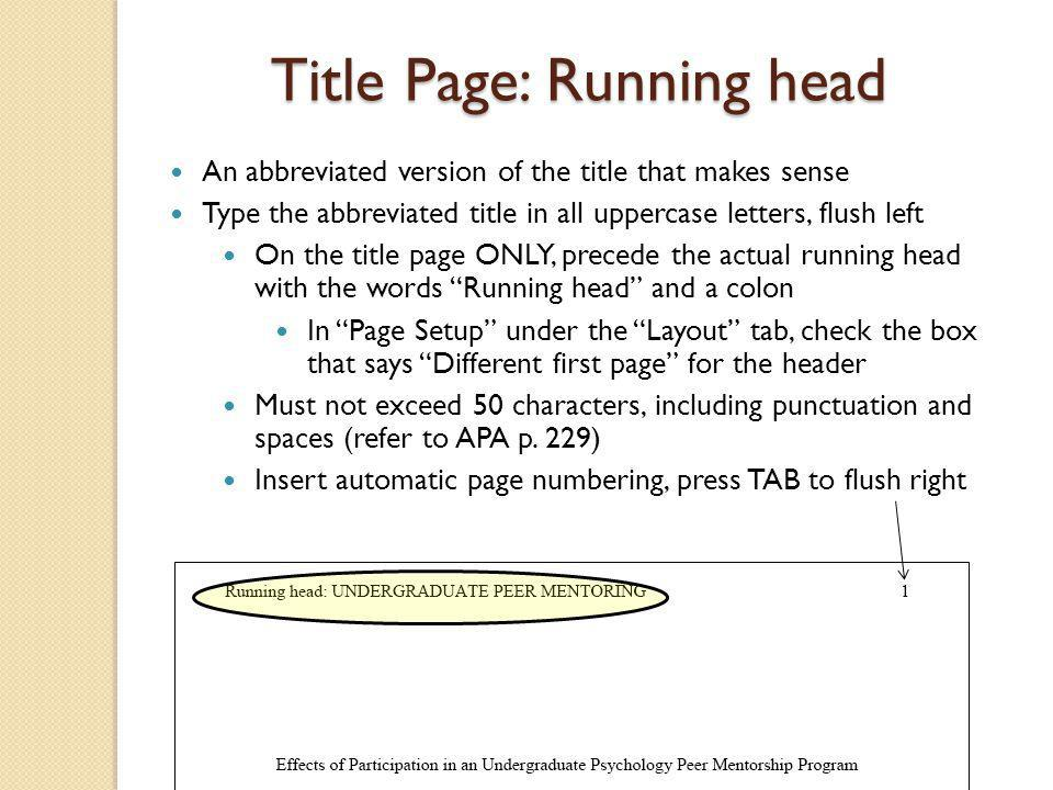 Title Page: Running head