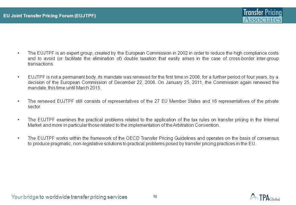 Main activities of the EUJTPF