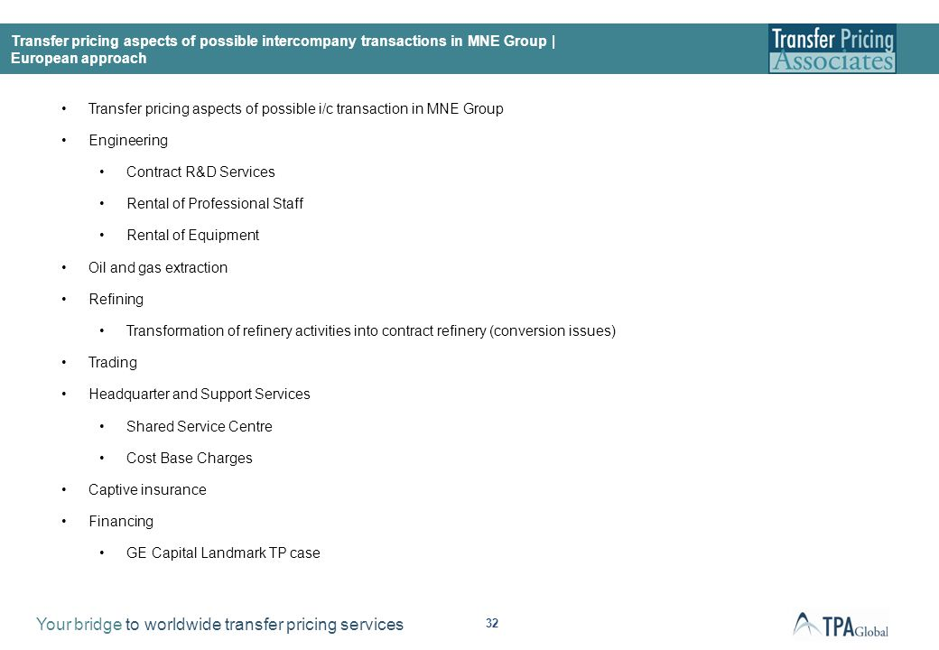 Transfer pricing aspects of possible i/c transaction in MNE Group