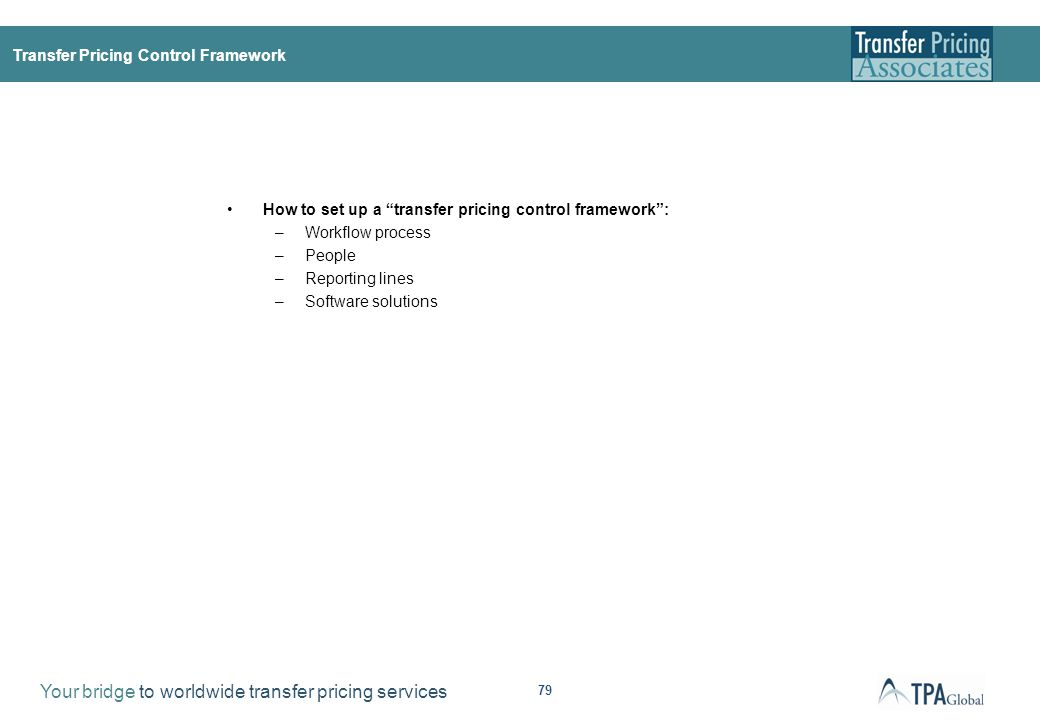 How to set up a transfer pricing control framework