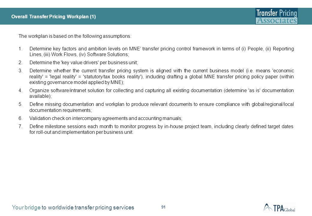 Overall Transfer Pricing Workplan (2)