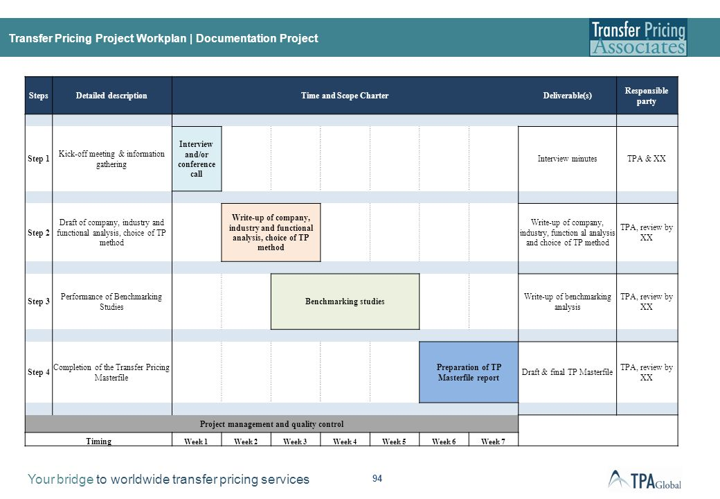Transfer Pricing Project Workplan | APA Project