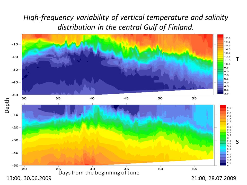 High-frequency variability of vertical temperature and salinity distribution in the central Gulf of Finland.