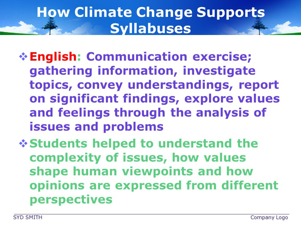 How Climate Change Supports Syllabuses