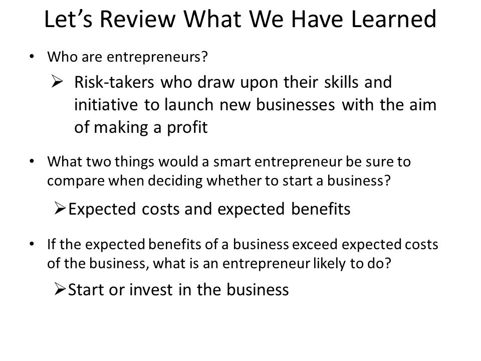 Let's Review What We Have Learned